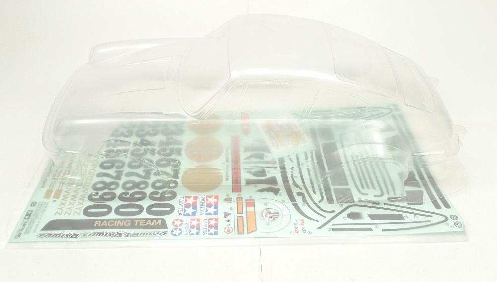 Tamiya 1:10 TA02 Porsche RSR Nero 11824141 Turbo corpo + DECAL foglio T9J ®